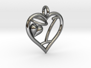 HEART I in Fine Detail Polished Silver