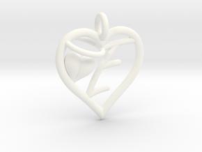 HEART E in White Processed Versatile Plastic