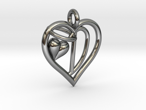 HEART D in Fine Detail Polished Silver