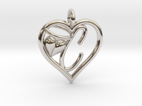 HEART C in Rhodium Plated Brass