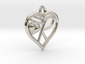 HEART R in Rhodium Plated Brass