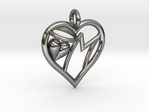 HEART M in Fine Detail Polished Silver