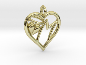 HEART M in 18k Gold Plated Brass