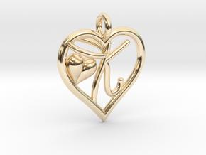 HEART K in 14k Gold Plated Brass