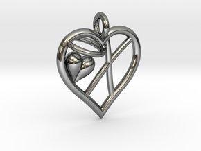 HEART X in Fine Detail Polished Silver