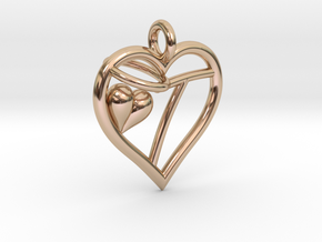 HEART T in 14k Rose Gold Plated Brass