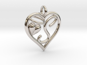 HEART S in Rhodium Plated Brass