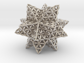 Flower Of Life Stellated Icosahedron in Rhodium Plated Brass