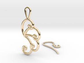 Fibonacci Earring 4 in 14k Gold Plated Brass
