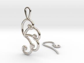 Fibonacci Earring 4 in Rhodium Plated Brass