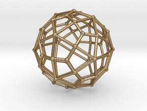 0311 Deltoidal Hexecontahedron V&E (a=1cm) #002 in Polished Gold Steel
