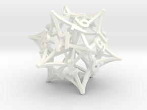 'Radial' D20 Spindown MTG Life Counter Die in White Processed Versatile Plastic