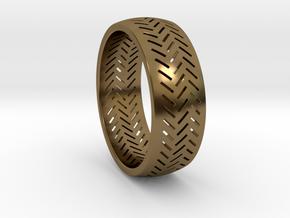 Herringbone Ring Size 12 in Polished Bronze
