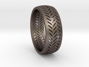 Herringbone Ring Size 16 in Polished Bronzed Silver Steel