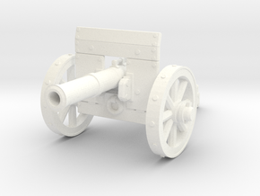 28mm Light fantasy cannon with shield in White Processed Versatile Plastic