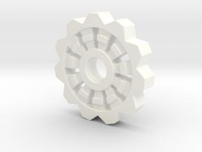Cog Pendant  in White Processed Versatile Plastic