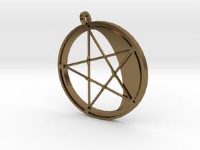 Pentagram Pendant in Polished Bronze