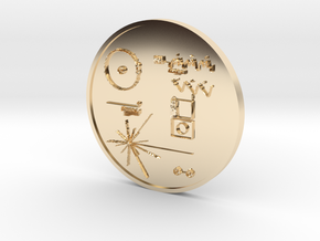 Voyager I Golden Record Medal in 14K Yellow Gold