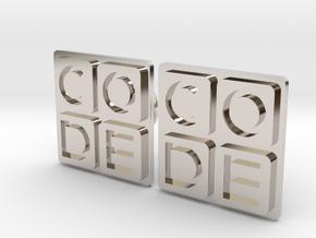 Code.org Cufflinks in Rhodium Plated Brass