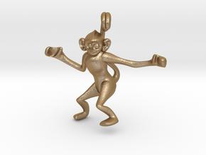 3D-Monkeys 005 in Matte Gold Steel
