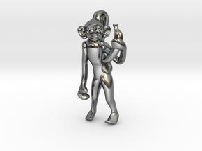 3D-Monkeys 042 in Fine Detail Polished Silver