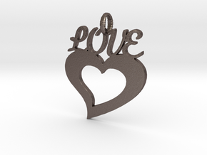 Love Heart Pendant in Polished Bronzed Silver Steel