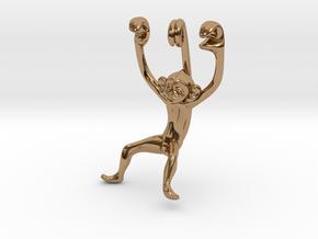 3D-Monkeys 138 in Polished Brass
