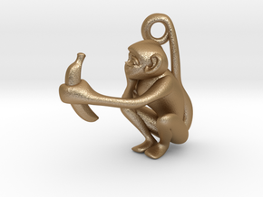 3D-Monkeys 156 in Matte Gold Steel