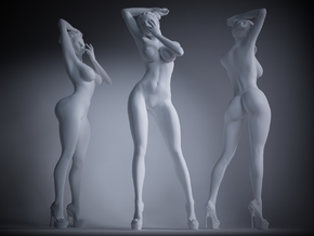 Heels girl 008 Scale 1:10 in White Strong & Flexible Polished