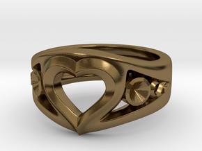 Heart Ring(inner diameter of ring17.4mm) in Polished Bronze