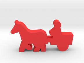 Game Piece, Horse And Cart in Red Strong & Flexible Polished
