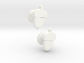 Acorn Cufflinks in White Processed Versatile Plastic