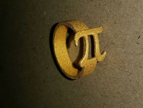 PI Ring Size8 in Polished Gold Steel