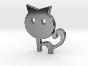 Keychain Cat in Fine Detail Polished Silver
