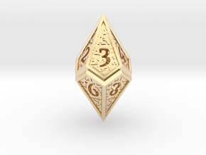 Hedron D10 (v2 open) Spindown - Hollow in 14k Gold Plated Brass