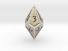 Hedron D10 (v2 open) Spindown - Hollow in Rhodium Plated Brass