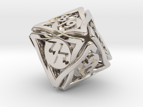 'Twined' Dice D8 Spindown Tarmogoyf P/T Die in Rhodium Plated Brass