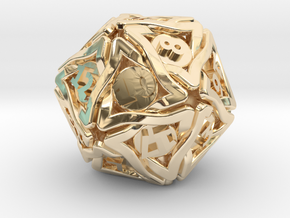 'Twined' Dice D20 Gaming Die (24 mm) in 14k Gold Plated