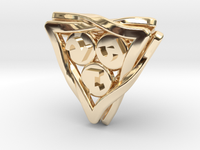 'Twined' Dice D4 Gaming Die in 14k Gold Plated Brass