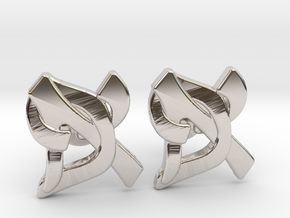 "Hebrew Monogram Cufflinks - ""Aleph Pay"" Large in Rhodium Plated Brass"