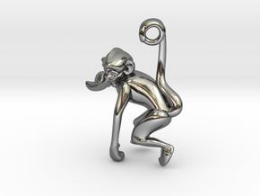 3D-Monkeys 223 in Fine Detail Polished Silver