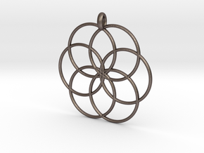 Flower of Life - Hollow Pendant V2 in Polished Bronzed Silver Steel