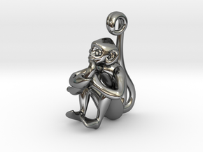 3D-Monkeys 250 in Fine Detail Polished Silver