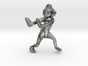 3D-Monkeys 256 in Fine Detail Polished Silver