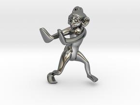 3D-Monkeys 256 in Fine Detail Polished Silver
