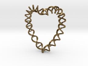 DNA Heart in Natural Bronze