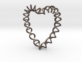 DNA Heart in Polished Bronzed Silver Steel