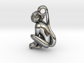 3D-Monkeys 333 in Fine Detail Polished Silver