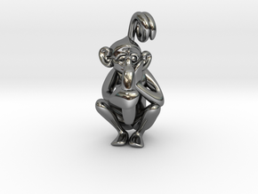 3D-Monkeys 335 in Fine Detail Polished Silver