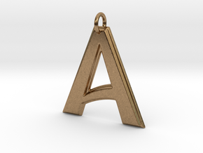 """""""A"""" Letter Initial Pendant in Natural Brass"""